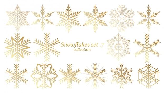Ensemble de vecteur noël design flocons de neige avec la couleur d'or Vecteur Premium