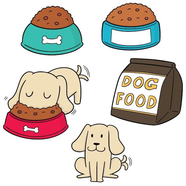 Ensemble de vecteur de nourriture pour chien Vecteur Premium