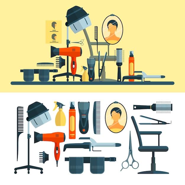 Ensemble de vecteur d'objets de coiffeur et d'outils. equipement de salon de coiffure, sèche-cheveux, sèche-cheveux, peigne, ciseaux. Vecteur Premium