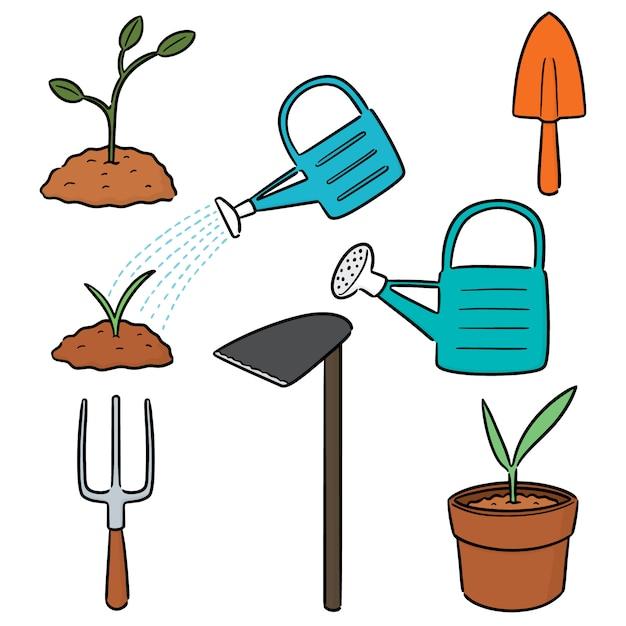 Ensemble de vecteur d'outil de jardinage Vecteur Premium
