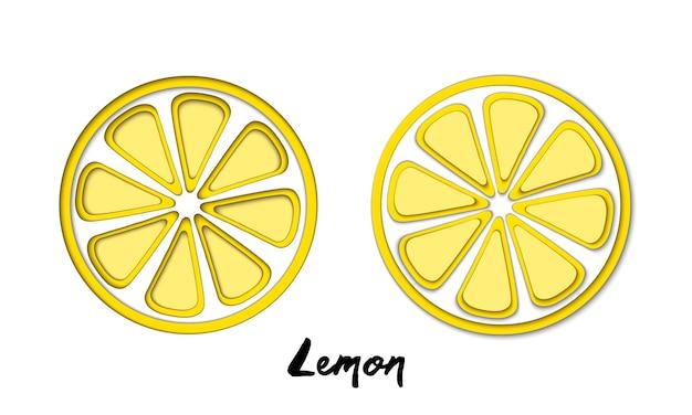 Ensemble de vecteur de papier coupé jaune citron, formes coupées. Vecteur Premium