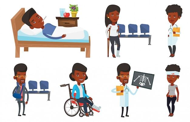 Ensemble De Vecteur De Personnages De Médecins Et De Patients. Vecteur Premium