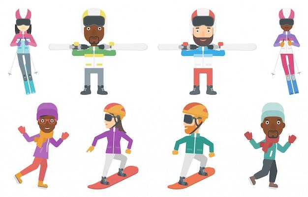 Ensemble de vecteur de personnages de sport d'hiver. Vecteur Premium