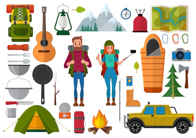 Ensemble de vecteur de personnes de randonnée et des éléments de camping Vecteur Premium