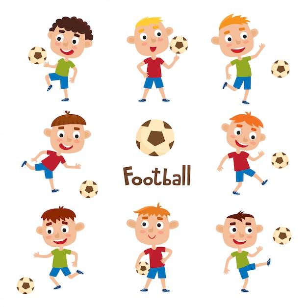 Ensemble De Vecteur De Petits Garçons Jouant Au Football En Style Cartoon Isolé Sur Blanc Vecteur Premium