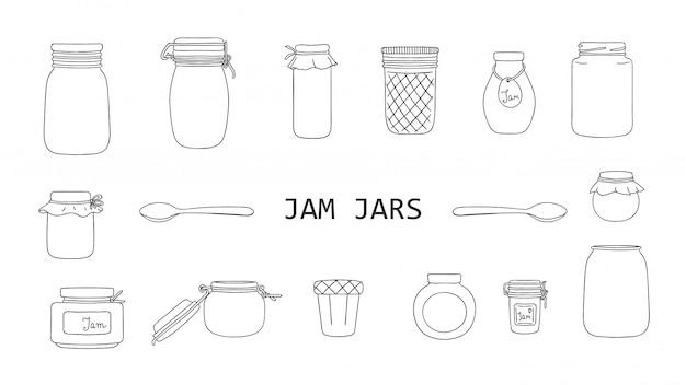 Ensemble de vecteur de pots de confiture noir et blanc isolés. collection monochrome d'aliments conservés en pots. Vecteur Premium