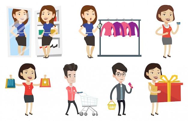 Ensemble De Vecteur De Shopping Personnes Personnages. Vecteur Premium