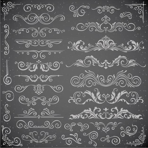 Ensemble De Vecteur Sombre D'éléments Swirl Pour Frame Design Vecteur Premium