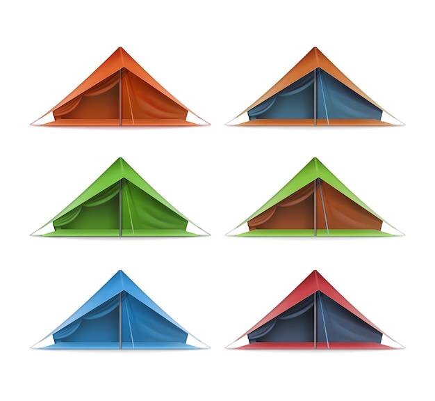 Ensemble De Vecteur De Tentes Touristiques Vertes, Rouges, Bleues Pour Les Voyages Et Le Camping Vue De Face Isolée Sur Fond Blanc Vecteur gratuit