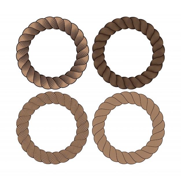 Ensemble De Vecteur De Trame De Corde Monochrome Noir Rond. Collection De Cercles épais Et Minces Isolés Vecteur Premium