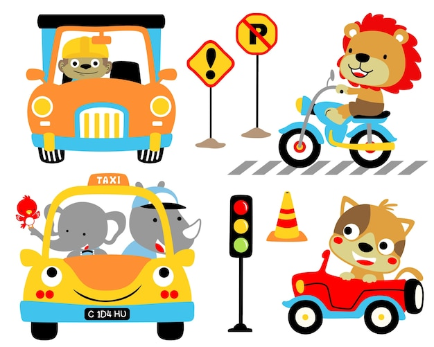 Ensemble de vecteur de véhicules de dessin animé avec des conducteurs drôles. Vecteur Premium