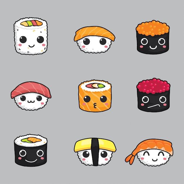 Ensemble de vecteur visage mignon sushi Vecteur Premium