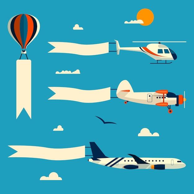 Ensemble de vecteur de vol ballon, hélicoptère, avion et biplan rétro avec des bannières publicitaires. modèle de texte. éléments de design dans un style plat. Vecteur Premium