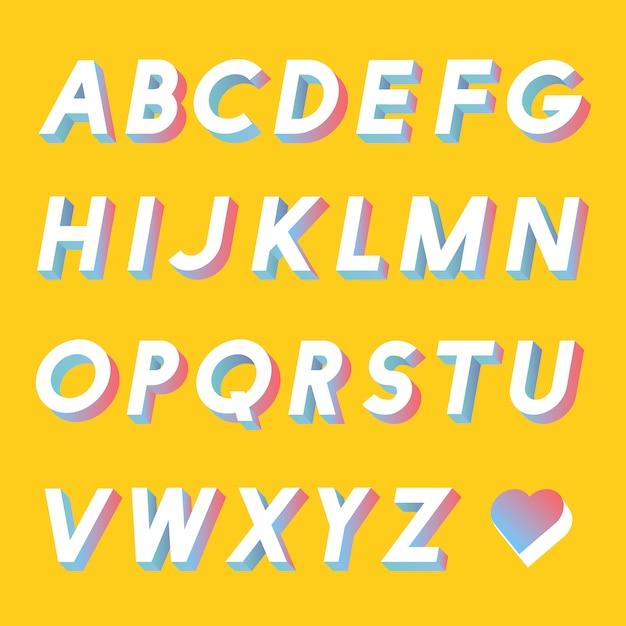Ensemble de vecteurs alphabet Vecteur gratuit