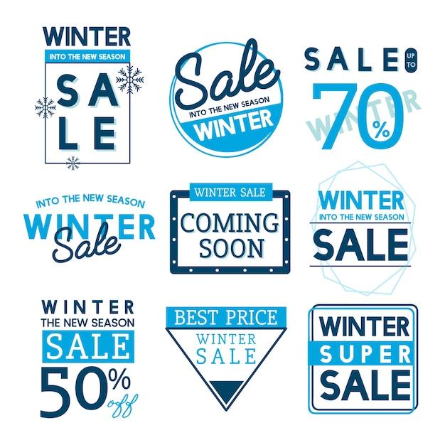 Ensemble de vecteurs de badge vente hiver Vecteur gratuit