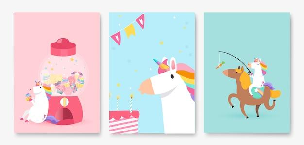 Ensemble de vecteurs de carte d'anniversaire coloré licorne Vecteur gratuit