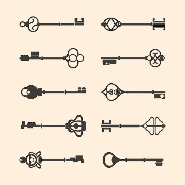 Ensemble de vecteurs clés de design vintage Vecteur gratuit