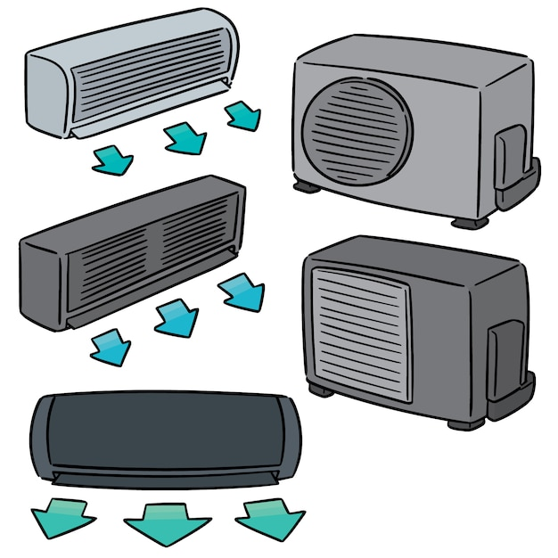 Ensemble de vecteurs de climatiseur Vecteur Premium