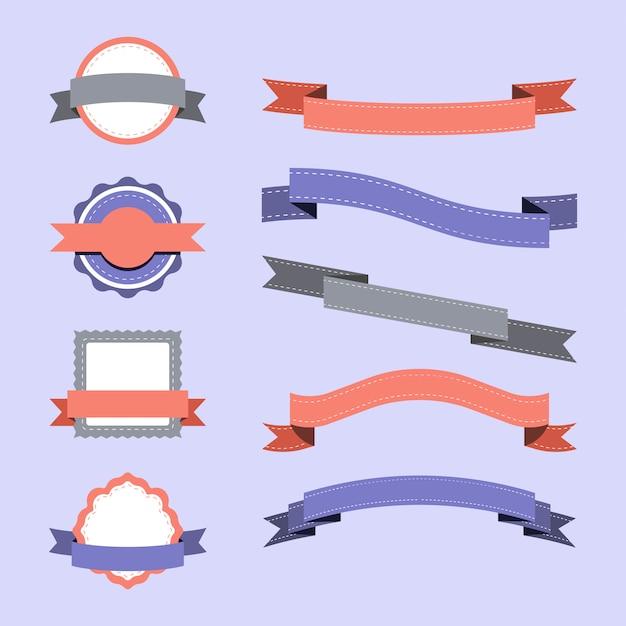 Ensemble de vecteurs de conception insigne pastel Vecteur gratuit