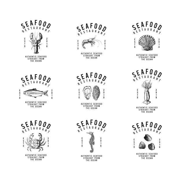 Ensemble de vecteurs de conception de logo de fruits de mer Vecteur gratuit