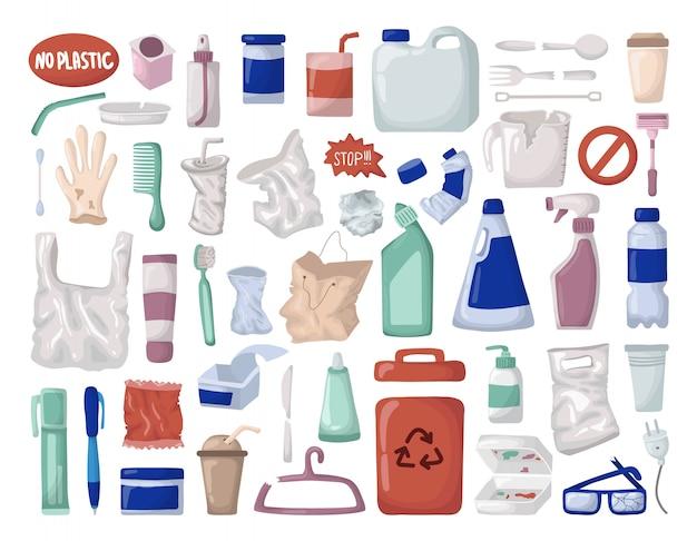 Ensemble de vecteurs - déchets ou déchets en plastique, conteneur de recyclage de plastique Vecteur Premium
