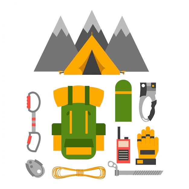 Ensemble de vecteurs d'équipement de trekking d'escalade. Vecteur Premium