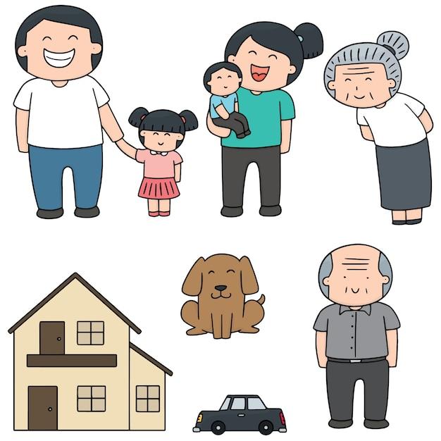 Ensemble de vecteurs de famille, voiture et maison Vecteur Premium