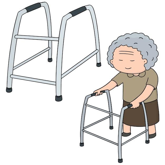 Ensemble de vecteurs de femme aînée à l'aide de walker Vecteur Premium