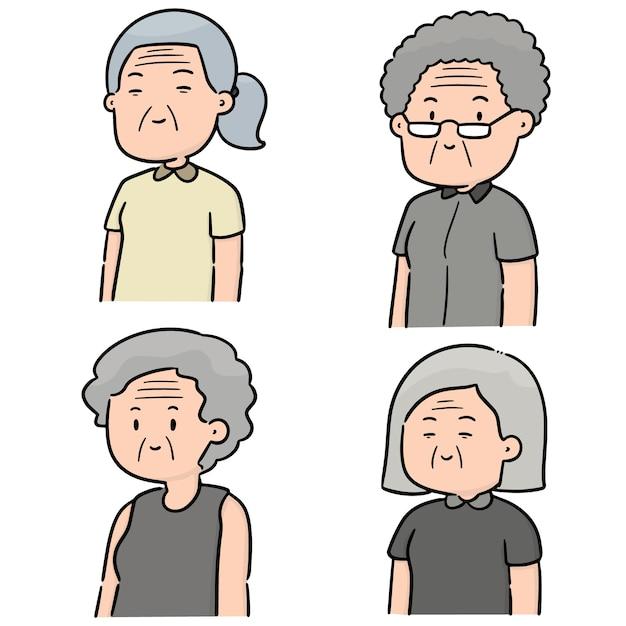 Ensemble de vecteurs de femmes âgées Vecteur Premium