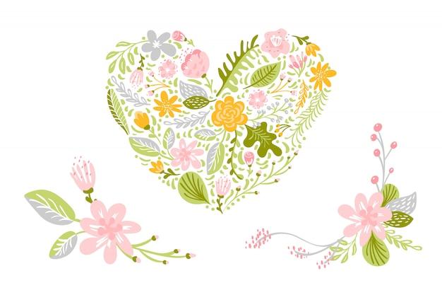 Ensemble de vecteurs de fleurs aux couleurs pastels. floral isolé, illustration plat coeur Vecteur Premium