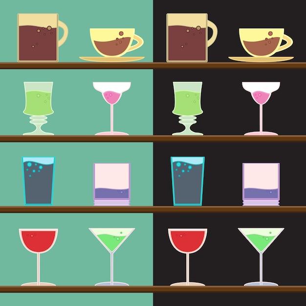 Ensemble de vecteurs de gobelets, tasses, verre Vecteur Premium
