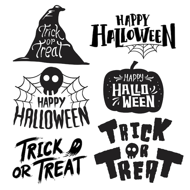 Ensemble de vecteurs happy halloween Vecteur gratuit