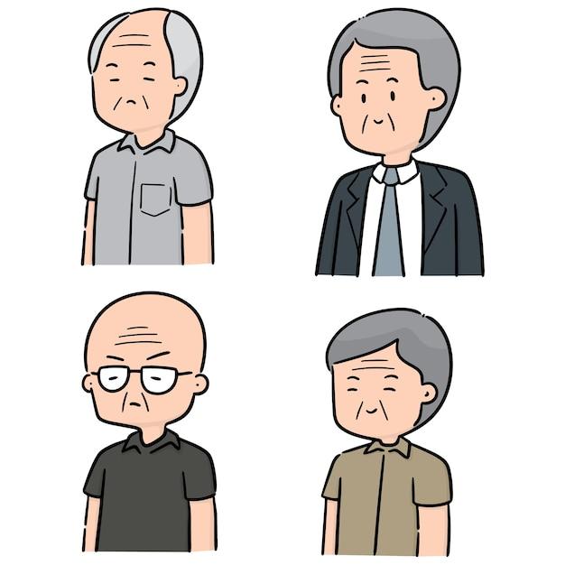 Ensemble de vecteurs d'hommes âgés Vecteur Premium