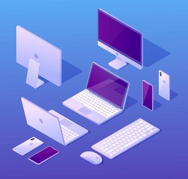 Ensemble de vecteurs isométriques de dispositifs numériques d'ordinateur Vecteur Premium