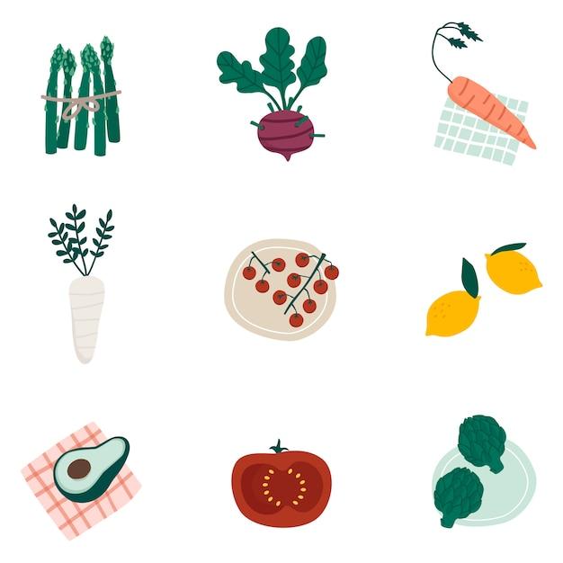 Ensemble de vecteurs de légumes bio coloré Vecteur gratuit