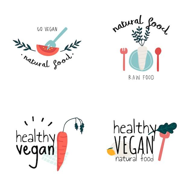 Ensemble De Vecteurs De Logo Végétalien Sain Vecteur gratuit