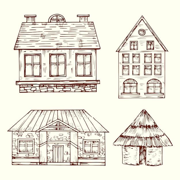 Ensemble De Vecteurs De Maisons Dessinées à La Main De Style Différent Vecteur Premium