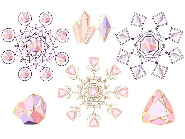 Ensemble de vecteurs de mandalas ronds, de cristaux et de gemmes Vecteur Premium