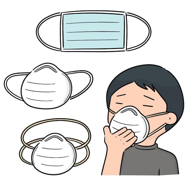 Ensemble de vecteurs de masque de protection médical Vecteur Premium
