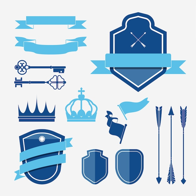 Ensemble de vecteurs d'ornement étiquette bleue Vecteur gratuit