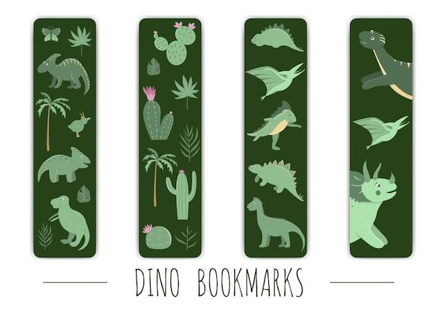 Ensemble De Vecteurs De Signets Mignons Avec Des Dinosaures Verts. Vecteur Premium