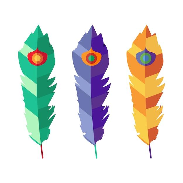 Ensemble de vecteurs de trois plumes colorées plat Vecteur Premium