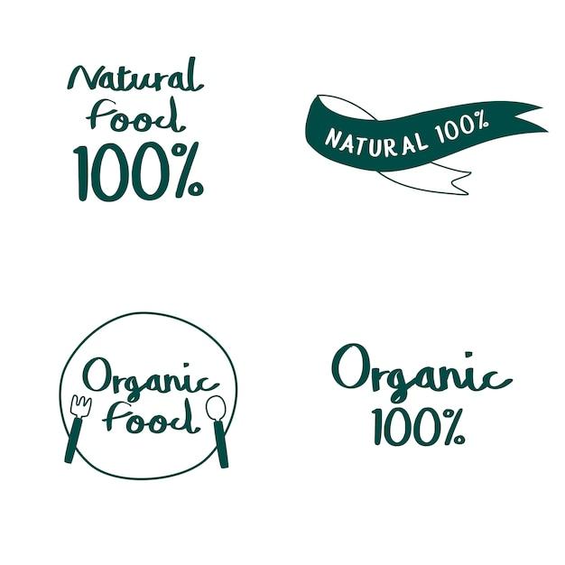 Ensemble de vecteurs de typographie d'aliments naturels et biologiques Vecteur gratuit