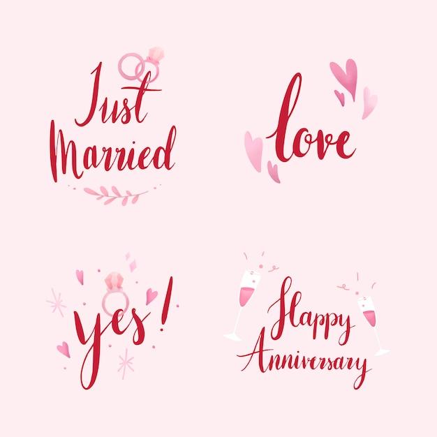 Ensemble de vecteurs de typographie mariage et amour Vecteur gratuit