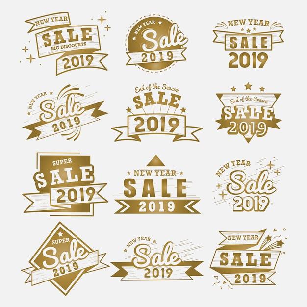 Ensemble de vecteurs de vente 2019 nouvel an badge Vecteur gratuit