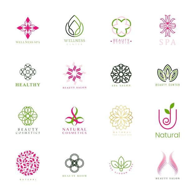 Ensemble de vector logo spa et beauté Vecteur gratuit