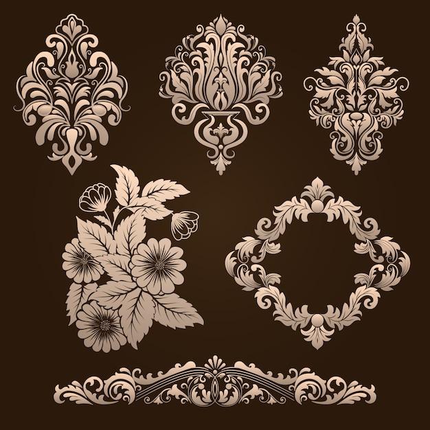 Ensemble vectoriel d'éléments décoratifs damassés. éléments abstraits floraux élégants pour le design. parfait pour les invitations, les cartes, etc. Vecteur gratuit