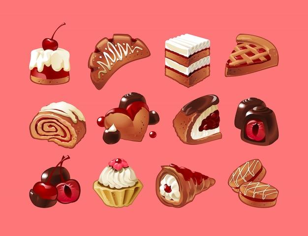 Ensemble vectoriel d'icônes bonbons Vecteur gratuit