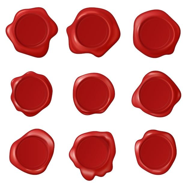 Ensemble Vectoriel De Timbres De Cire De Sceau Vintage Rétro. Collection De Cire De Timbre Réaliste. étiquettes De Tampon Rouge Au Certificat Vecteur Premium