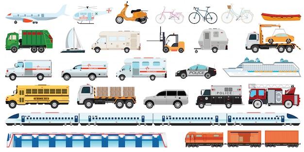 Ensemble de véhicule transportable. Vecteur Premium
